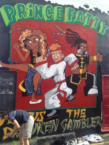 Prince Fatty artwork being painted in Brighton.