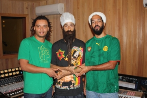 Moon, Jah David and Tippy I in the studio.